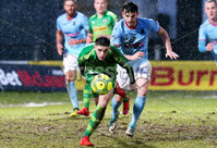 Bet McLean Cup Semi-Final, Showgrounds, Co. Antrim 10/2/2018. Ballymena United vs Cliftonville. Ballymena\'s Conor McCloskey with Cliftonville\'s Jay Donnelly. Mandatory Credit ©INPHO/Jonathan Porter