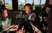 ©Press Eye Ltd Northern Ireland -15th May 2012. Mandatory Credit - Picture by Darren Kidd/Presseye.com .  Ulster Rugby press conference ahead of the Heineken Cup Final on Saturday 19th May. Ulster\'s John Afoa.