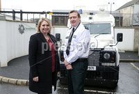 Press Eye - Belfast - Northern Ireland - 4th March 2018 -  . Visiting Londonderry on Monday 5 March 2018, Secretary of State for Northern Ireland Karen Bradley MP met with Area Commander Gordon McCalmont at PSNI Strand Road Station to discuss the challenges local officers face while keeping people safe.. . Photo by Kelvin Boyes / Press Eye..