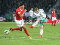 PressEye-Northern Ireland- 12th November  2017-Picture by Brian Little/ PressEye. Northern Ireland George Salville has a shot on the Switzerland goal     during Sunday night\'s FIFA  World Cup play-off  second leg match at St Jacob Park, Basel.. Picture by Brian Little/PressEye