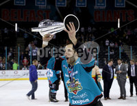Press Eye - Belfast -  Northern Ireland - 06th April 2019 - Photo by William Cherry/Presseye. Belfast Giants\' Kendall McFaull pictured with the Elite Ice Hockey League trophy after being crowned Champions at the SSE Arena, Belfast.       Photo by William Cherry/Presseye