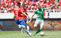 Press Eye - Belfast -  Northern Ireland - 03rd June 2018 - Photo by William Cherry/Presseye. Costa Rica\'s Giancarlo Gonzalez with Northern Ireland\'s Stuart Dallas during Sunday mornings International Friendly at the Nuevo Estadio Nacional de Costa Rica in San Jose.   Photo by William Cherry/Presseye