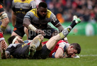 European Rugby Champions Cup Round 5, Kingspan Stadium, Belfast 13/1/2018. Ulster vs La Rochelle. Ulster\'s Nick Timoney scores his side\'s third try. Mandatory Credit ©INPHO/Ryan Byrne