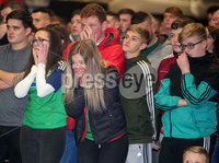 Press Eye Belfast - Northern Ireland 12th November 2017. Northern Ireland fans pictured at the fanzone on the Boucher Road in south Belfast as the team looses out on a 2018 Russia World Cup place after getting beat by Switzerland in the playoffs. . Picture by Jonathan Porter/PressEye.com