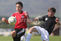 ©/Presseye.com - 9th July 2017.  Press Eye Ltd - Northern Ireland - Hughes Insurance Foyle Cup U-13 2017- GPS FC Bayern (USA) V Bertie Peacock Youth League.. Jose Vera (GPS FC Bayern) and Karl Hutchinson (B Peacock YL).  . Mandatory Credit Photo Lorcan Doherty / Presseye.com