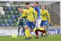 Danske Bank Premiership, Windsor Park, Belfast 10/2/2018. Linfield vs Dungannon Swifts. Linfield\'s Achille Campion in action with Ryan Harpur of Dungannon. Mandatory Credit ©INPHO/Declan Roughan