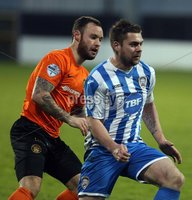 Mandatory Credit - Picture by Freddie Parkinson/Press Eye ©. Saturday 21st November 2015. NIFL Premiership. The Showgrounds, Coleraine.. Coleraine FC vs. Carrick Rangers FC. Carrick\'s Andrew Doyle and Coleraine\'s James McLaughlin