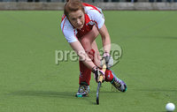 Mandatory Credit: Rowland White/Presseye. Women\'s Irish Hockey League. Teams: Pegasus (red) v Hermes (blue). Venue: The Dub. Date: 21st April 2012. Caption: Stephanie Quinn, Pegasus
