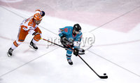 Press Eye - Belfast, Northern Ireland - 06th December 2019 - Photo by William Cherry/Presseye. Belfast Giants\' Patrick Mullen with Sheffield Steelers\' Anthony DeLuca during Friday nights Elite Ice Hockey League game at the SSE Arena, Belfast.       Photo by William Cherry/Presseye