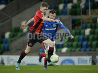21/02/2020. Danske Bank Irish Premiership match between Linfield and Crusaders at The National Stadium.. Linfields  Nial Quinn  in action with Crusaders Jamie McGonigle . Mandatory Credit  Inpho/Stephen Hamilton