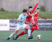 Press Eye - Belfast - 6th January 2018  . Cliftonville v Warrenpiont Town, Tennents Irish Cup 5th round at Solitude, North Belfast.. Cliftonville\'s Jamie Harney in action with Warrenpiont Town\'s Lorcan Forde. Picture by Matt Mackey / Inpho.ie