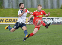 Press Eye Belfast - Northern Ireland 12th August 2017. Danske Bank Irish Premier league match between Cliftonville and Ards at Solitude Belfast.. Cliftonville\'s Chris Curran in action with Ards Scott Davidson.  Photo by Stephen  Hamilton / Press Eye