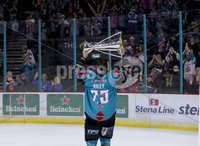 Press Eye - Belfast -  Northern Ireland - 06th April 2019 - Photo by William Cherry/Presseye. Belfast Giants\' Blair Riley pictured with the Elite Ice Hockey League trophy after being crowned Champions at the SSE Arena, Belfast.       Photo by William Cherry/Presseye