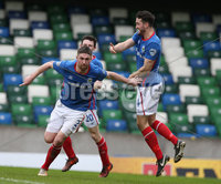 Danske Bank Premiership Play-off , Windsor Park, Belfast  7/4/2018. Linfield FC vs Ballymena United. Linfield\'s    Mark Stafford celebrates with Joshua Robinson after opening the scoring against Ballymena United.. Mandatory Credit @INPHO/Brian Little