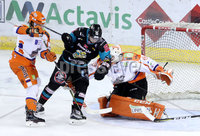 Press Eye - Belfast -  Northern Ireland - 06th January 2018 - Photo by William Cherry/Presseye. Belfast Giants Darcy Murphy with Sheffield Steelers Ervins Mustukovs during Saturday nights Elite Ice Hockey League game at the SSE Arena, Belfast
