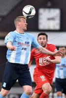© Press Eye - Belfast - Northern Ireland 21st November 2015.. Danske Bank premiership.  Ballymena v Portadown.. Ballymena\'s Matthew Tipton. and Ports\' Michael Gault. during Saturday\'s match at The Showgrounds. Photo by TONY HENDRON/Presseye.