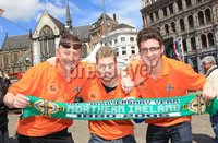 ©Press Eye Ltd Northern Ireland - 1st June 2012. Mandatory Credit - Picture by Darren Kidd/Presseye.com .  .  Northern Ireland fans in Amsterdam ahead of their international friendly against the Netherlands on Saturday evening.. Northern Ireland fans from Ballinamallard United, Dessie Quinn, Adam Poots and Mark Gray