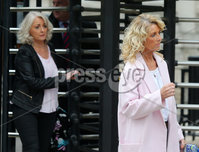 Press Eye - Belfast - Northern Ireland - 1st October 2018. The family of Gerald McKinney attend the High Court in Belfast where they were awarded damages from the MOD regarding the shooting dead of their brother Gerald McKinney during Bloody Sunday in January 1972.  14 civilians died during the events in Derry when the Parachute Regiment opened fire on a civil rights march.  . Gerald McKinney\'s daughters Regina and Martine pictured leaving the High Court in Belfast. . . Picture by Jonathan Porter/PressEye