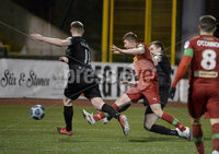 9thFebruary 2021. Danske Bank Irish league,Solitude,Belfast. Cliftonville v Warrenpoint Town .. Cliftonvilles  Paul ONeill slots home his first goal for his new club. Mandatory Credit   Inpho/Stephen Hamilton