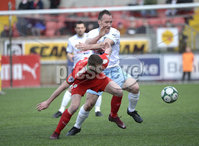 13th April 2019. Danske Bank Irish premiership. Cliftonville v Ballymena United at Solitude Belfast.. Cliftonville\'s Rory Donnelly  in action with Ballymena\'s Albert Watson . Mandatory Credit -Inpho/Stephen Hamilton .