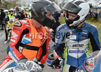 Mandatory Credit: Rowland White / PressEye. Motor Cycle Racing: 57th Tandragee 100 . Venue: Tandragee. Practice Day. Date: 21st April 2017. Caption: Guy Martin and William Dunlop exchange views