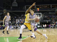Press Eye - Belfast -  Northern Ireland - 02nd December 2017 - Photo by William Cherry/Presseye. La Salle University\'s Johnnie Shuler with College of the Holy Cross\'s Caleb Green during Saturday afternoons Basketball Hall of Fame Belfast Classic game at the SSE Arena, Belfast.  Photo by William Cherry/Presseye