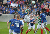 PressEye-Northern Ireland- 14th July  2017-Picture by PressEye. Linfield Mark Haughey     and Celtic Erik Sviatchenko during  Friday\'s UEFA Champions League Qualifier Round 2 (First Leg) match  at Windsor Park.. Picture by PressEye  .