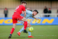 Danske Bank Premiership, Milltown Playing Fields, Newry 2/12/2017 . Warrenpoint Town vs Cliftonville. Warrenpoint\'s Conor McMenamin and Cliftonville\'s Stephen Garrett. Mandatory Credit ©INPHO/Philip Magowan
