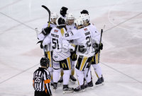 Press Eye - Belfast -  Northern Ireland - 12th January 2018 - Photo by William Cherry/Presseye. Nottingham Panthers players celebrate after scoring against Belfast Giants during Friday nights Elite Ice Hockey League game at the SSE Arena, Belfast.