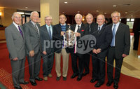 Press Eye - Belfast - Northern Ireland - Saturday 28th April 2012 -  Picture by Kelvin Boyes / Press Eye.. Linfield veterans from 1961-62 at the Ramada Hotel Belfast.. Pictured left to right are: Ken Gilliland, Jim Reid, Isaac Andrews, Bobby Braithwaite, Hubert Barr, Bobby Irvine, Billy Wilson and Ray Gough..