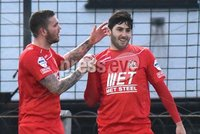 © Press Eye - Belfast - Northern Ireland 21st November 2015.. Danske Bank premiership.  Ballymena v Portadown.. Ports\' Sean Mackle. celebrates after scoring to make it  0-1. during Saturday\'s match at The Showgrounds. Photo by TONY HENDRON/Presseye.