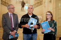 Press Eye Belfast - Northern Ireland 9th October 2017. Left to right.  Sinn Fein\'s Máirtín Ó Muilleoir, Pat Sheehan and Caoimhe Archibald speak to the press in the Great Hall at Parliament Buildings, Stormont, regarding the launch of the Sinn Féin health document