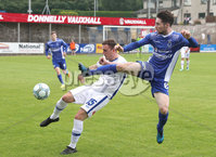 Press Eye - Danske Bank Premiership  - 12th August 2017. Dungannon Swifts v Coleraine. Photograph By Declan Roughan. Dungannons Swifts Ryan Mayse. Coleraine's Stephen O'Donnell
