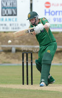 Mandatory Credit: Rowland White/Presseye. Cricket: Ulster Cup Round 1. Teams: North Down (green) v Limavady (back). Venue: The Green, Comber. Date: 2nd June 2012. Caption: Alastair Shields, North Down