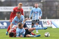 © Press Eye - Belfast - Northern Ireland 21st November 2015.. Danske Bank premiership.  Ballymena v Portadown.. Ballymena\'s Tony Kane and Stephen McBride. and Ports\' Chris Casment and Matthew Shevlin. during Saturday\'s match at The Showgrounds. Photo by TONY HENDRON/Presseye.