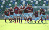 Press Eye-Belfast-Northern Ireland -27th July 2020. Sadlers\'s Peaky  Blinder Irish Cup Semi Final, National Stadium at Windsor Park, Belfast. . 27/7/2020. Ballymena United FC v Coleraine FC. Ballymena United\'s players celebrate after winning a penalty shoot-out against Coleraine.. Mandatory Credit  Brian Little/PressEye