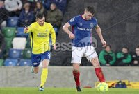 Danske Bank Premiership, Windsor Park, Belfast 10/2/2018. Linfield vs Dungannon Swifts. Linfield\'s Stephen Lowry in action with Daniel Hughes of Dungannon. Mandatory Credit ©INPHO/Declan Roughan