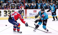 Press Eye - Belfast -  Northern Ireland - 14th September 2018 - Photo by William Cherry/Presseye. Belfast Giants\' Curtis Leonard with Dundee Stars\' Francois Bouchard during Friday nights Challenge Cup game at the SSE Arena, Belfast.       Photo by William Cherry/Presseye