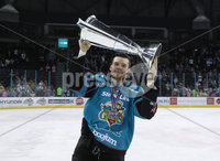 Press Eye - Belfast -  Northern Ireland - 06th April 2019 - Photo by William Cherry/Presseye. Belfast Giants\' Josh Roach pictured with the Elite Ice Hockey League trophy after being crowned Champions at the SSE Arena, Belfast.       Photo by William Cherry/Presseye