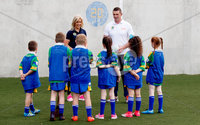 REPRO FREE***PRESS RELEASE NO REPRODUCTION FEE***. Topaz Cash for Clubs Launch, Dublin 17/5/2017. Pictured at the launch of Cash for Clubs are Topaz ambassadors Brid Stack and Alan Quinlan with pupils from St. Patrick Boys National School and St. Patrick Girls National School, Ringsend, Dublin.. Topaz is encouraging people from across Ireland to go the extra mile for there local community to be in with a chance to win up to €10,000 for a club of their choice. A total of €200,000 in cash prizes will be up for grabs over the course of the next 12 weeks.. For more information and how to enter see www.playorpark.ie/cashforclubs. Mandator Credit ©INPHO/James Crombie