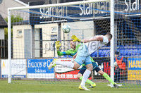 Danske Bank Premiership, Showgrounds, Ballymena 7/10/2017 . Dungannon vs Ballymena United. Ballymena\'s Conor Brennan has a chance on goal . Mandatory Credit ©INPHO/Philip Magowan