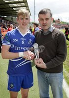 Ulster GAA Football Minor Championship Semi-Final, Morgan Athletic Grounds 24/6/2012. Down vs Monaghan. Patrick McCarney, Electric Ireland CRM, presents Monaghan\'s David McAllister with his Man of the Match Award at the Electric Ireland Ulster Semi-Final between Monaghan and Down. Mandatory Credit ©INPHO/Morgan Treacy