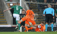 PressEye-Northern Ireland- 16th November 2019-Picture by Brian Little/PressEye. Northern Ireland George Saville shot is blocked by Netherlands Matthijs de Ligt  during Saturday\'s EURO 2020 Qualifier at the National Football Stadium at Windsor Park.. Picture by Brian Little/PressEye