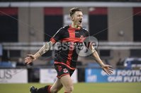Danske Bank Premiership, Seaview Belfast.. Co Antrim 02/12/17. Crusaders v Glentoran. Mandatory Credit ©INPHO/Stephen Hamilton. Crusaders Jordan Forsythe celebrtes after scoring to make it 1-0 to the Crues.