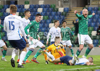 Press Eye-Belfast-Northern Ireland -12th November 2020. National Football Stadium at Windsor Park, Belfast. . 12/11/2020. Northern Ireland  Liam Boyce celebrates the Slovakia  own goal during Thursday  night\'s UEFA Euro 2020  Play-off Final  at the National Football Stadium at Windsor Park,Belfast.. Mandatory Credit PressEye