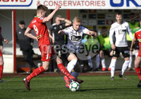 . Danske Bank Premiership Europa League Playoff, Solitude, Belfast 11/5/2019. Cliftonville vs Glentoran. Cliftonville\'s Ryan Curran  with Glentorans Connor Pepper. Mandatory Credit INPHO/Stephen Hamilton.