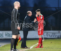 Danske Bank Premiership, Ballymena United vs Cliftonville, The Ballymena Showgrounds, Co. Antrim . 3/4/2018 . Cliftonville\'s Jay. Donnelly along with manager Barry Gray. Mandatory Credit ©INPHO/Matt Mackey