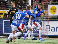 Danske Bank Premiership at Solitude, Belfast.  13.01.2020. Cliftonville FC vs Linfield FC. LinfieldAndrew Mitchell(right) celebrates after scoring a penalty to make it 0-1. . Mandatory Credit INPHO/Jonathan Porter