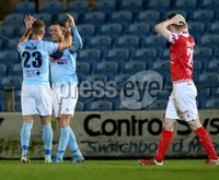 BetMcLean League Cup Round 3, Ballymena Showgrounds, Ballymena 10/10/2017. Ballymena United vs Portadown. Ballymena United\'s Kevin Braniff celebrates scoring with Leroy Millar. Mandatory Credit ©INPHO/Brian Little