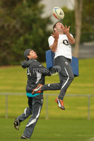 Ireland Rugby Squad Training, Onewa Domain, Takapuna, Auckland, New Zealand 7/6/2012. Fergus McFadden tackled by assistant coach Les Kiss during training. Mandatory Credit ©INPHO/Billy Stickland